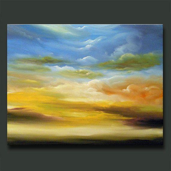 art abstract original blue sky yellow clouds violet 28 x 22 x 1.5 - Mattsart