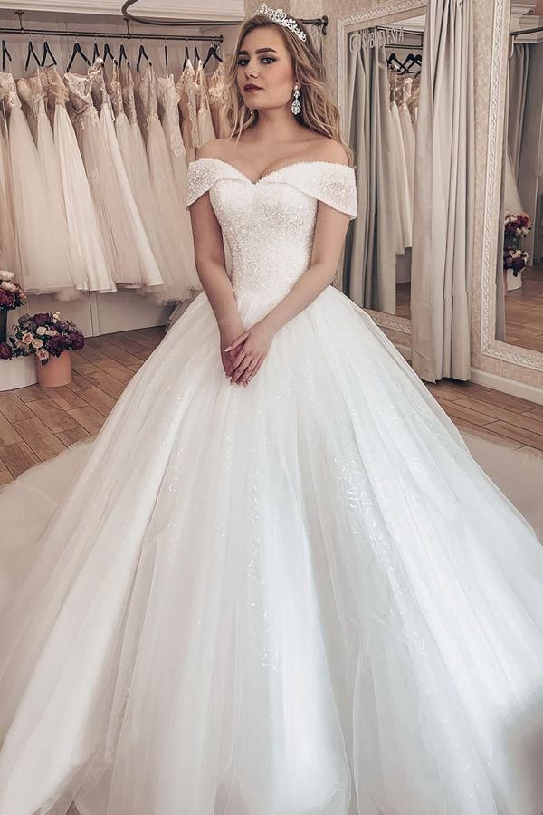 Sparkling Tulle Off-the-shoulder Neckline Ball Gown Wedding Dresses With Rhinestones #backlessweddingdress
