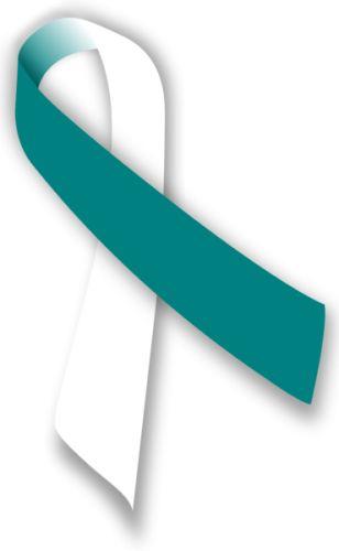 Cervical Cancer Teal & White Awareness Ribbons