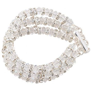 Boda 3 row swarovski crystal wedding cuff with diamante rondelles