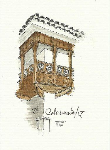 Palacio de los Marqueses de Villaverde y ahora Museo Nacional de Etnografía y Folklore en la Calle Ingavi. El balcón en la esquina con la Calle Genaro Sanjinés. La Paz - Bolivia. Por Carlos Calvimontes Rojas.