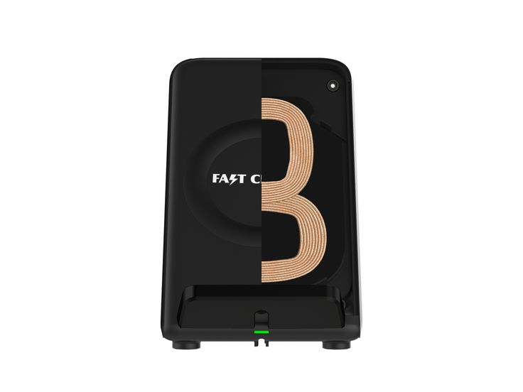 Qi-enabled fast wireless charging phone stand with cooling fan