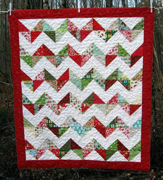 Modern Quilt // Modern Christmas Quilt // Moda Quilt // Moda Joy // Kate Spain //Christmas Quilt // Couch Quilt // Twin Quilt // Blitzen. $159.00, via Etsy.