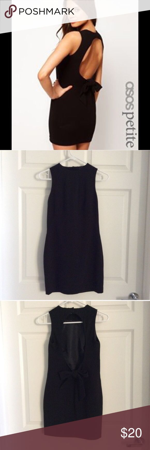 ASOS petite mini dress with bow back Never worn. Selling because it doesn't fit me. NWOT. Black with lining. UK 6/EU 34/US 2. ASOS Petite Dresses Mini