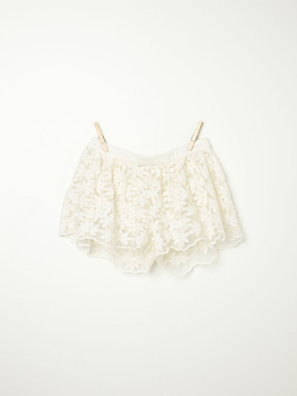 Daisy Embroidered Mesh Shorts