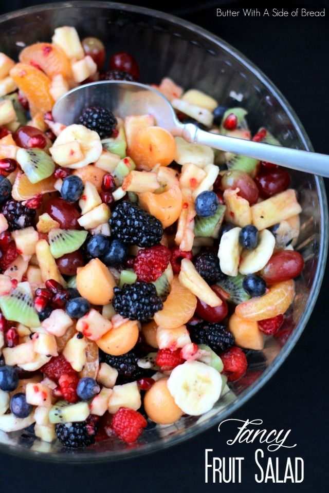 """Fancy Fruit Salad- recipe for a sweet, tangy dressing that goes perfectly with fruit salad- plus tips on making a """"fancy"""" fruit salad #recipe #fruit #healthy"""