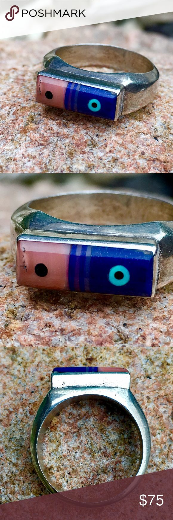 Vintage Silver Hand Cast Inlay Ring **I have No Records To Authenticate any Tribal Affiliation, any legitimate input would be welcome! Lapis, Pink Shell, Turquoise, Dots of Onyx or Jet, No Hallmarks, Ring Tests Positive for Sterling, all one Piece with no seams, Stones are rounded & set in semi-mount. ( ring in last photo is a separate listing and not included) 8.8g Jewelry Rings