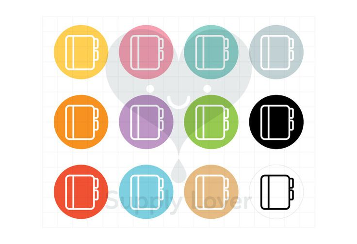 PLANNER Clip-Art Commercial Use, Planner, Book, Notebook, Icon, Circle, Symbol, School, Office, Supplies, Round, 12 Colors - B0051