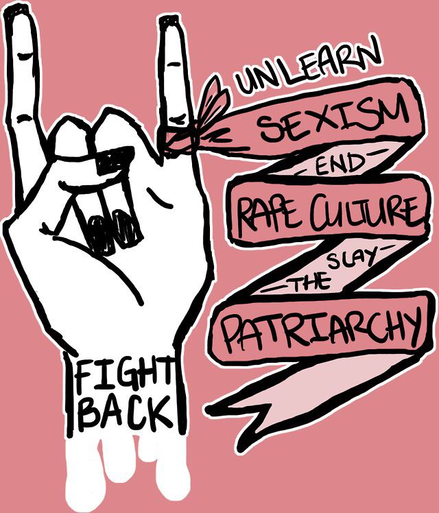 Unlearn sexism! End rape culture!  Bury the patriarchy!    FIGHT BACK!! The handwritten nature of this font. how it's in capitals to make it appear like they're shouting, which is a protest so you would expect this.