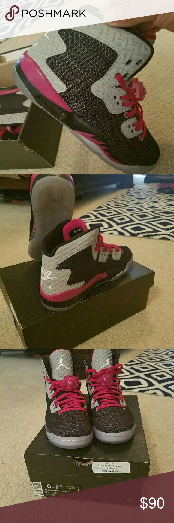 Ladies Air Jordan Spikes Black, Grey and Fuscia Nike Shoes Sneakers