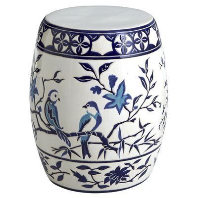 For a vanity stool? Blue u0026 White Bird Garden Stool from Pier 1  sc 1 st  Pinterest & 121 best garden stools images on Pinterest | Garden stools ... islam-shia.org