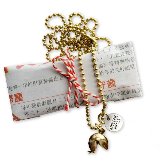 Fortune cookie ketting goud from Applepiepieces