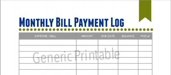 free monthly bills  u0026 expense printables