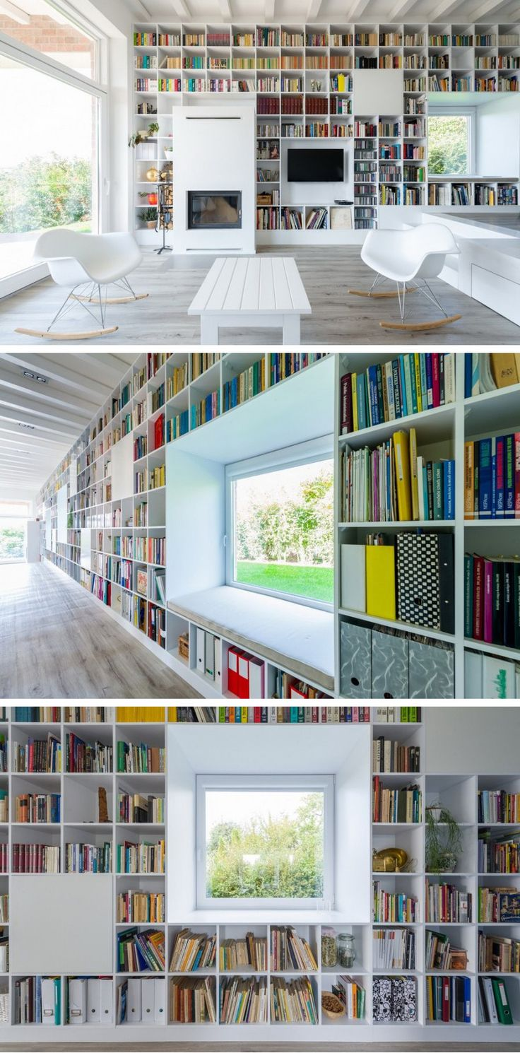 A DREAM WALL FOR BOOK COLLECTORS - Földes & Co. Architects designed a huge bookshelf that runs the length of the wall, for the owner's extensive book collection, in this home in Pilisborosjeno, Hungary.