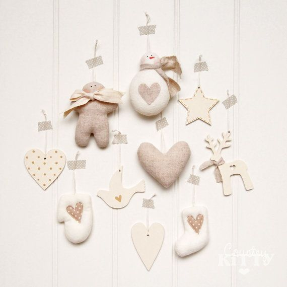 Christmas tree handmade decorations/ornaments set - wood and fabric - nordic beige and ivory