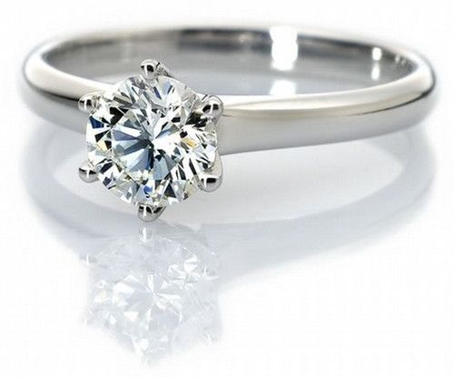 30 Pointer Classic 6 Prong Solitaire Ring made in Platinum SKU 0012
