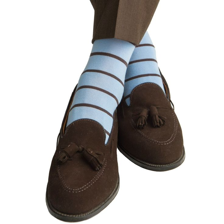Sky Blue with Brown Stripe Fine Merino Wool Sock Linked Toe Mid-Calf