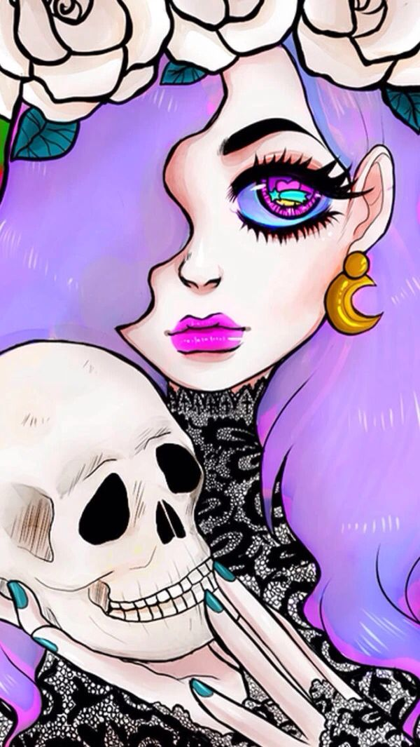 It's just a graphic of Soft Pastel Goth Girl Drawing