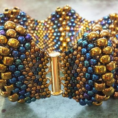 Beaded bracelet handwoven gorgeous miyuki peyote stitched covex/concave blue and gold beaded bracelet. made with love.