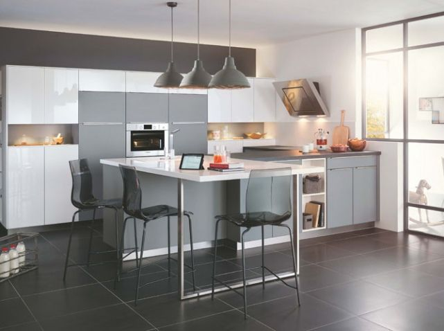 cuisine grise mobalpa kitchens pinterest cuisine deco and deco cuisine. Black Bedroom Furniture Sets. Home Design Ideas