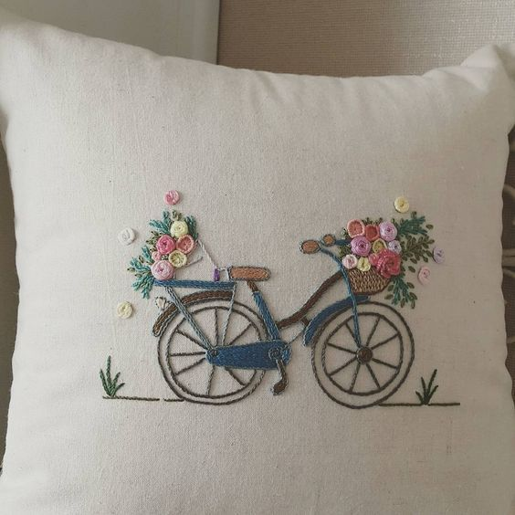 Bicycle with basket of flowers embroidery