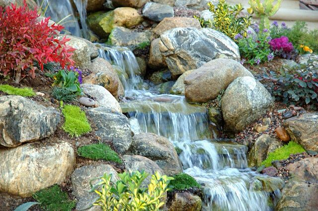 Hillside waterfalls bring big dramatic effects in your landscape.