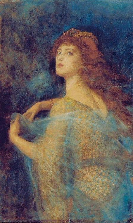 """The Enchantress - Arthur HUGHES (27 January 1832 – 22 December 1915), was an English painter and illustrator associated with the Pre-Raphaelite Brotherhood. He is the uncle of the English painter Edward Robert Hughes. His best-known paintings are April Love and The Long Engagement, both of which depict troubled couples contemplating the transience of love and beauty. They were inspired by John Everett Millais's earlier """"couple"""" paintings"""