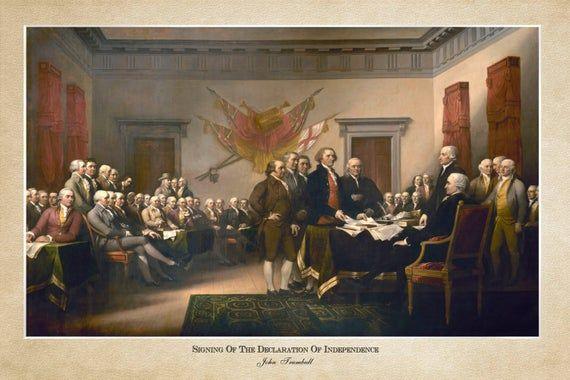 Firma de la Declaración de Independencia, John Trumbull 1819; Impresión de 24×36 pulgadas reproducida de una v