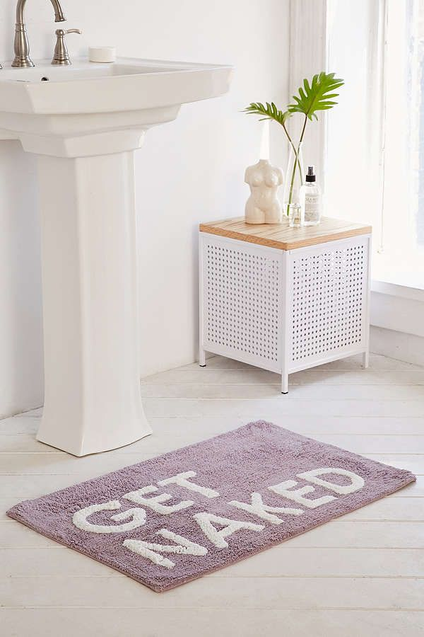 "Get Naked Bath Mat! Essential bath mat with printed text, designed exclusively for Urban Outfitters. Complete with a no-slip back so everything stays nice and steady. Dimensions: 20""l x 30""w.  (afflink)"