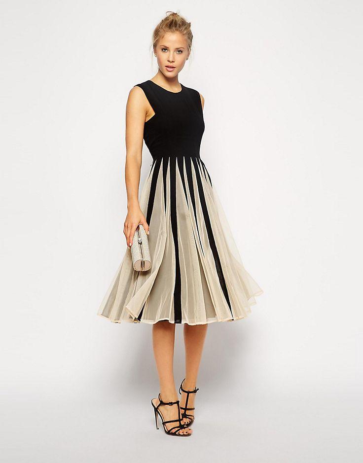 Bild 1 von ASOS – Kleid aus Netzstoff mit ausgestelltem Rock in Midi-Länge