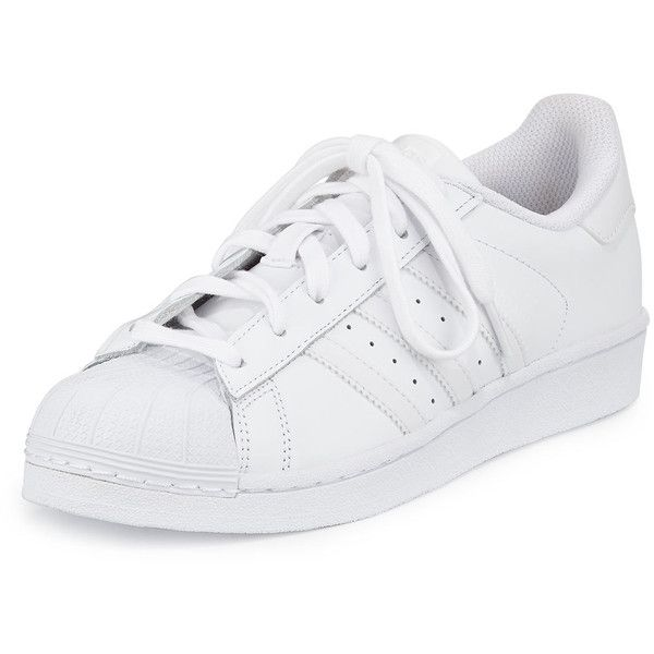 Adidas Superstar Classic Sneaker (255 BRL) ❤ liked on Polyvore featuring shoes, sneakers, adidas, sapatos, zapatos, white, adidas shoes, leather lace up flats, white lace up sneakers and flat shoes
