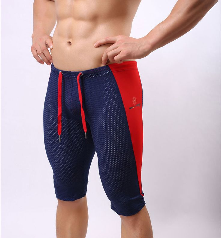 Brave Person Sexy Men's Workout Tights Elastic G-ym Fitness Shorts Low waist For Beach Riding Quick-drying