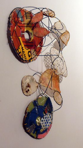 """Rickie Wolfe: lost and found - wall mounted metal mixed-media sculpture 2008 18""""H x 12""""W"""