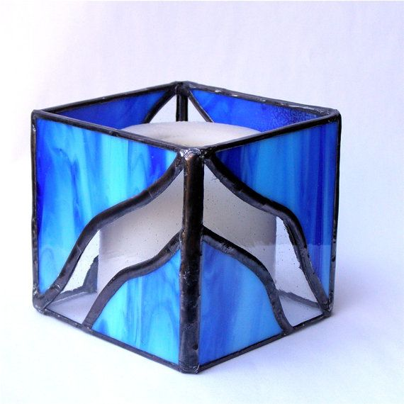 Stained Glass Candle Holder -  Candle Lantern - Blue and Clear Glass via Etsy