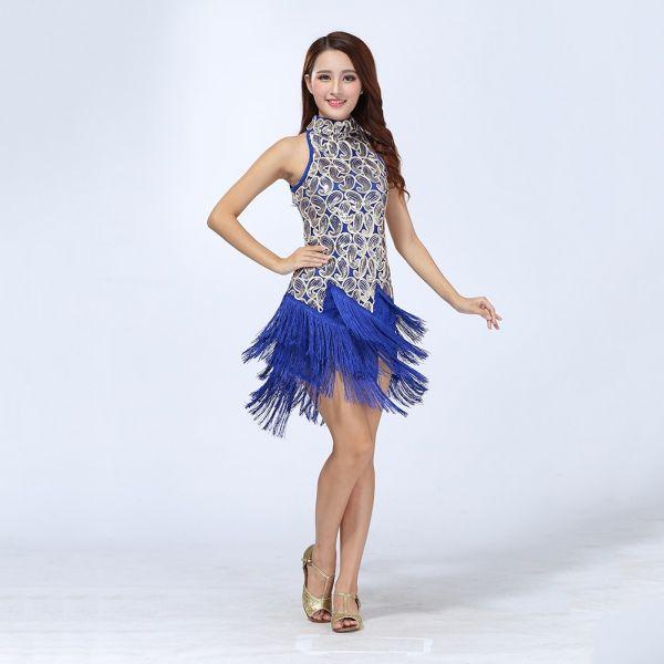 Vestido-de-fiesta-Rumba-Latino-Salsa-Tango-CHA-CHA-Dance-Wear-salon-de-baile-de-Lentejuelas-Borla
