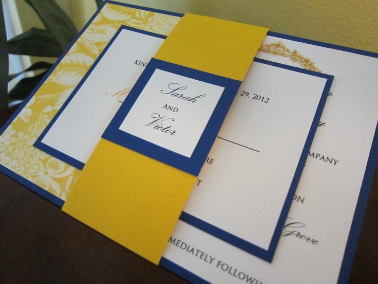 Blue And Yellow Wedding Invitations: Modern Vintage Cobalt Blue And Mustard Yellow Wedding