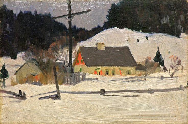 Clarence A. Gagnon - The Wayside Cross, Les Éboulements, c. 1922