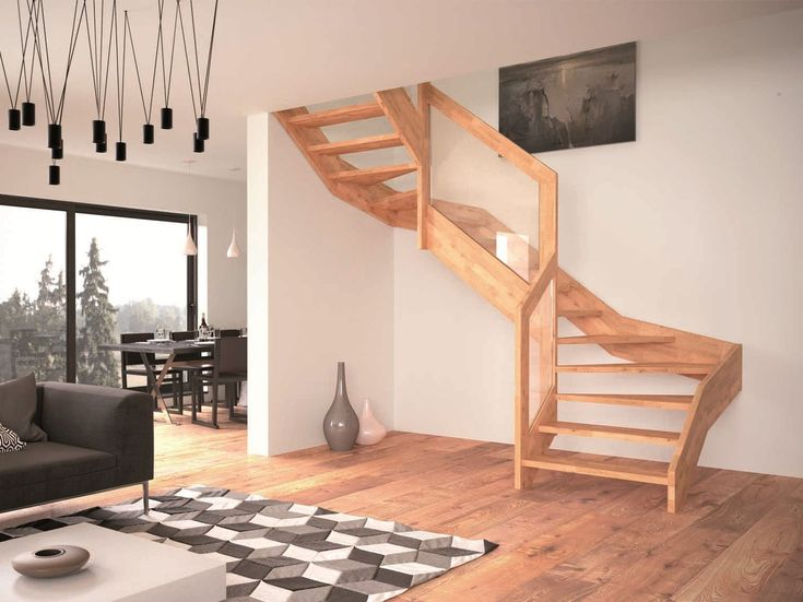 Contemporary Open Wooden Frame Staircases with Glass Railing by Rintal – Visio