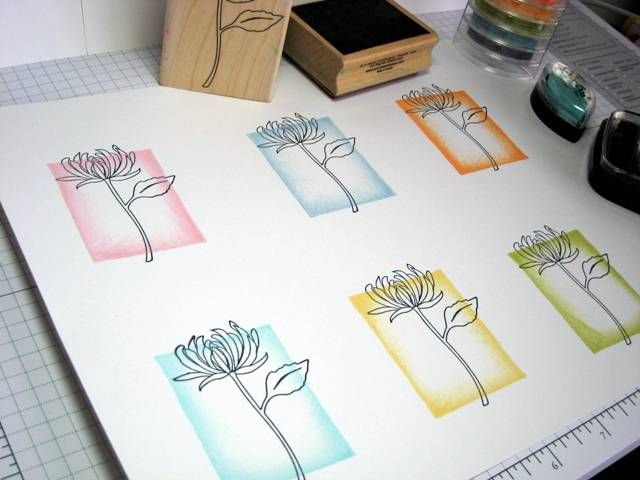ink only the edges of your background block, then stamp image over (Love this idea!)