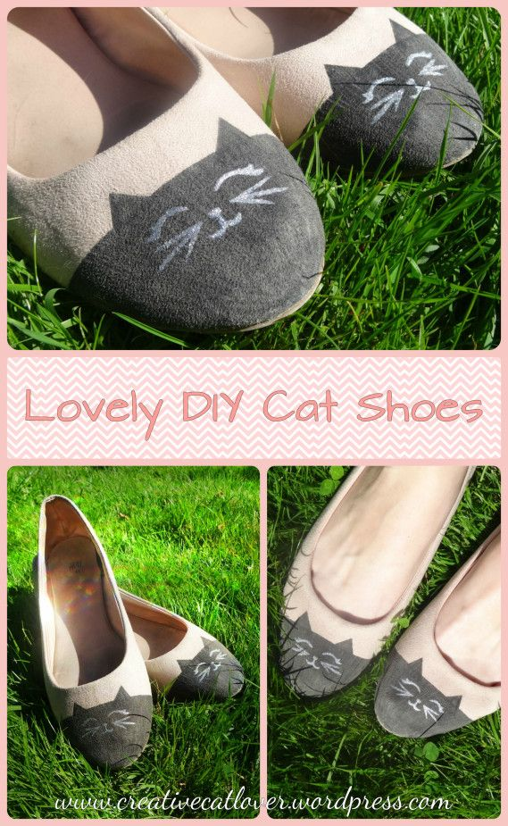 Love these cat flats! Repin AND follow the link to get step by step instructions about how to make them! https://creativecatlover.wordpress.com/2016/08/18/diy-cat-flats/