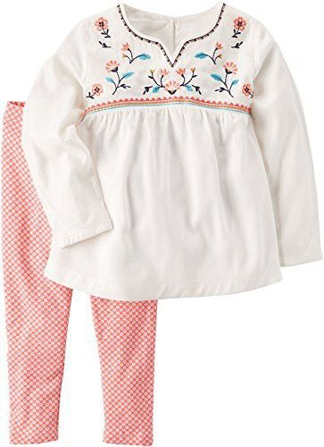 2e4f4381 Carter's Baby Girls' 2 Piece Embroidered Babydoll Top and Leggings Set 9  Months