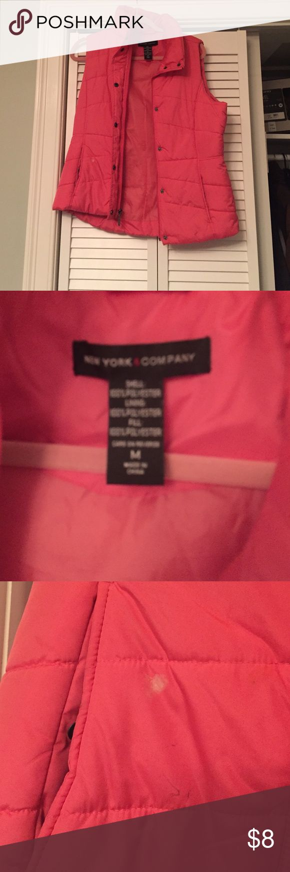 Pink vest size medium pink vest Pink vest size medium pink vest Small white stain near pocket New York & Company Jackets & Coats Vests