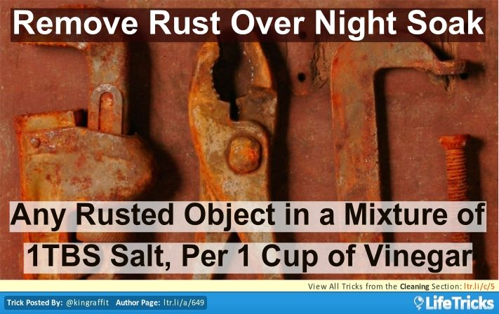 Soak any rusty object in a mixture of Vinegar and Table Salt over night. 1 Tablespoon of Salt for Every Cup of Vinegar and the Rust will Fall off!