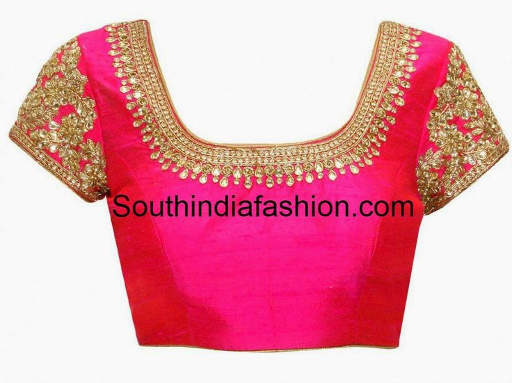 Pink raw silk blouse with kundan embroidered neckline and sleeves . Related PostsFull Work Blouse for Silk SareesKundan Work BlouseZardozi Work Blouse for Silk SareesHigh Neck Zardosi Work Bridal Blouse