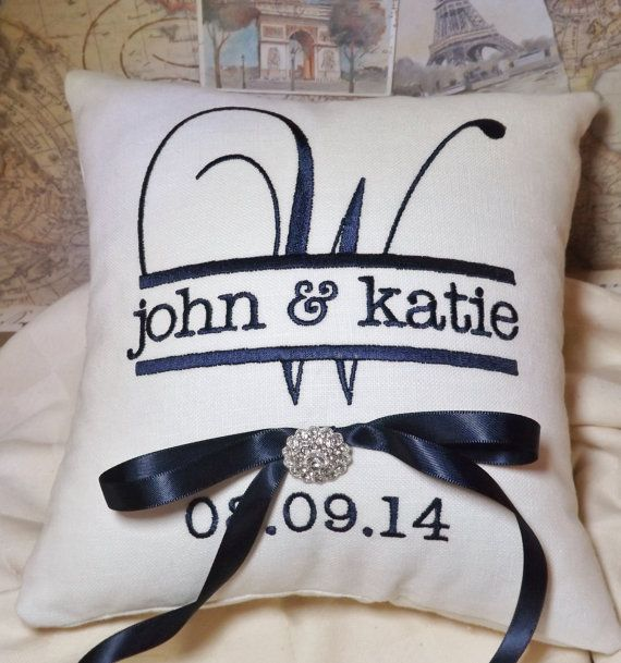 This pillow measures 8 x 8 and is done in white linen fabric with midnight navy & The 25+ best Ring pillows ideas on Pinterest   Wedding reception ... pillowsntoast.com