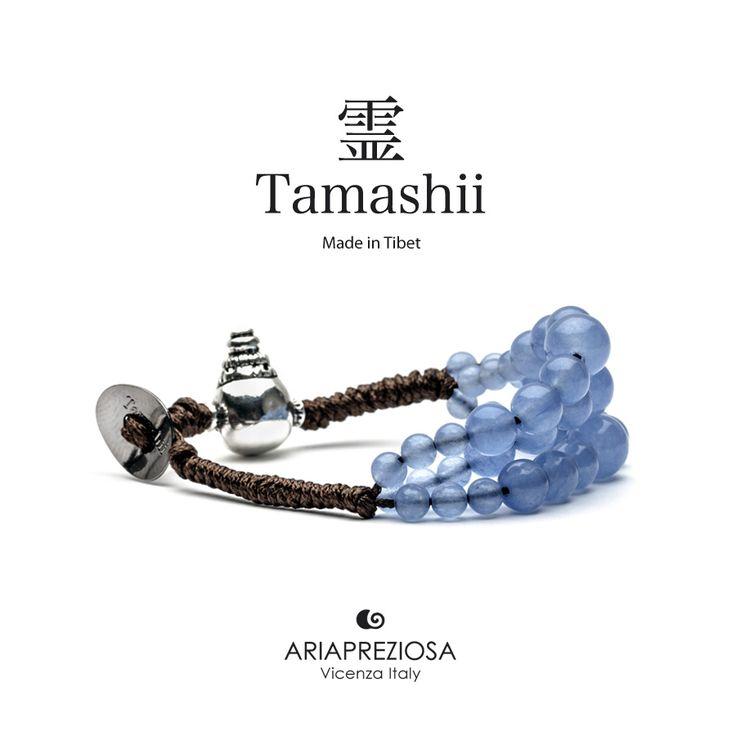 Bracciale Tamashii Dul Ba originale realizzato con pietre naturali AGATA OCEAN.  Composto da 3 file di pietre, simboleggia la disciplina, che nel buddismo assume l'accezione di equilibrio.