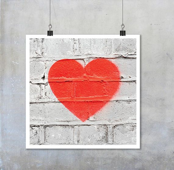 Red heart stencil graffiti art: white wall romantic love urban street art - square photo photograph big print poster 22x22  12x12 18x18