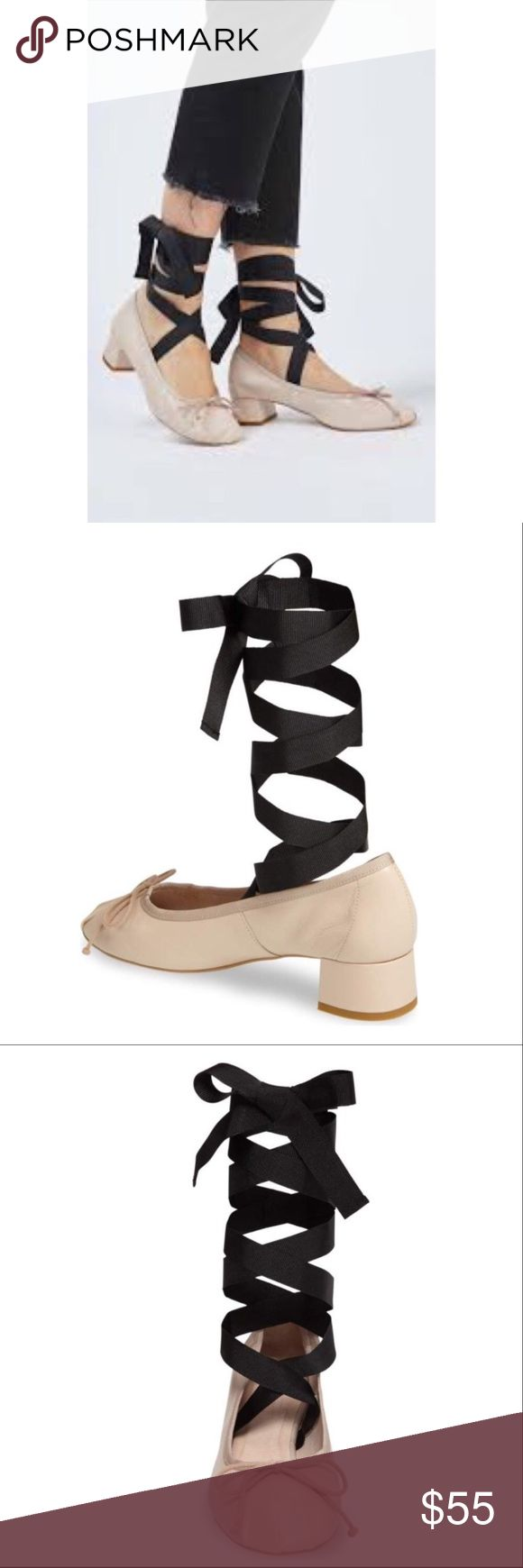 Topshop Kan-Kan Ankle Tie Pump 8.5 NWT Wide grosgrain ribbons wrap around your ankle and extend nearly to your knee for a super chic, ballerina-inspired look on a block-heel pump crafted in Spain. Unworn, NWT. Size 39 Euro.= 8 1/2 US. Color is nude. Topshop Shoes