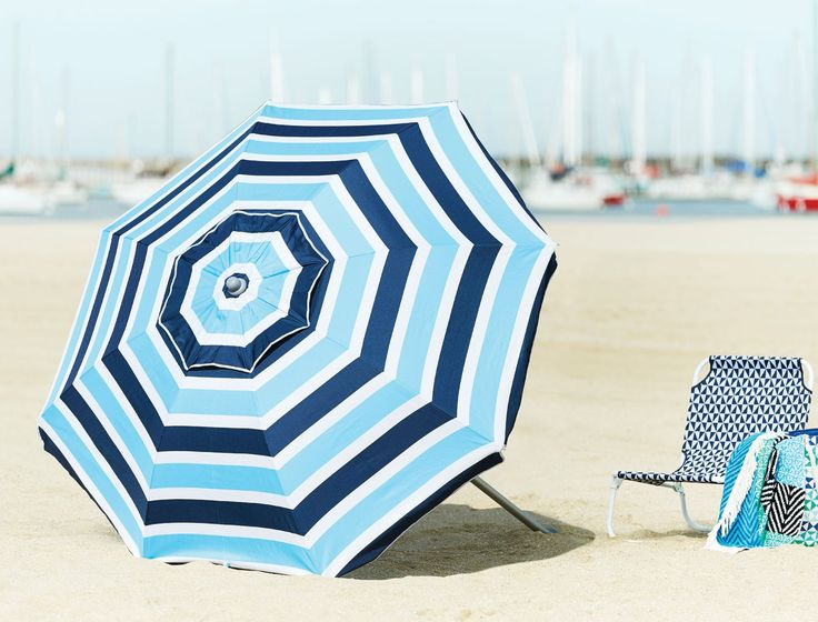 Create shade during the summer months with the versatile Deluxe Beach Umbrella. Ideal for use at the beach or in the garden, this premium quality umbrella is generously sized and made from UV resistant fabric with silver coated lining.