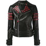 Philipp Plein studded hearts biker jacket